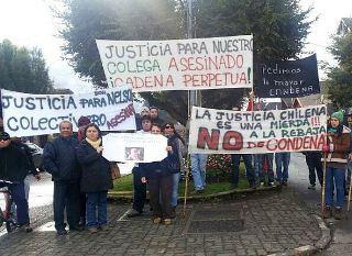Colectiveros De Pucón Protestaron Por Rebaja De Condena a Los Asesinos De Nelson Figueroa Manzanares