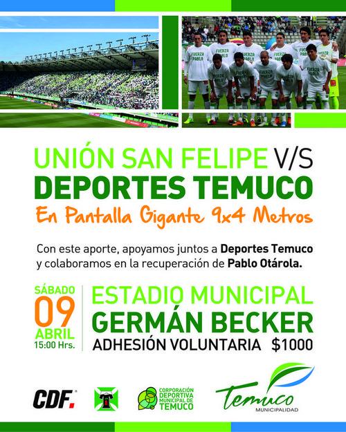 En el Becker Habilitarán Pantallas Gigantes para Temuco-San Felipe