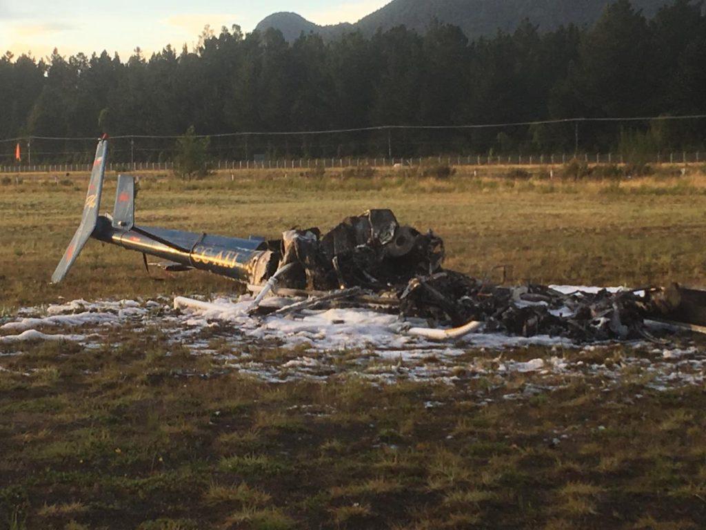 Policía Investiga Presunto Ataque Incendiario Que Destruyó Helicóptero en Pucón