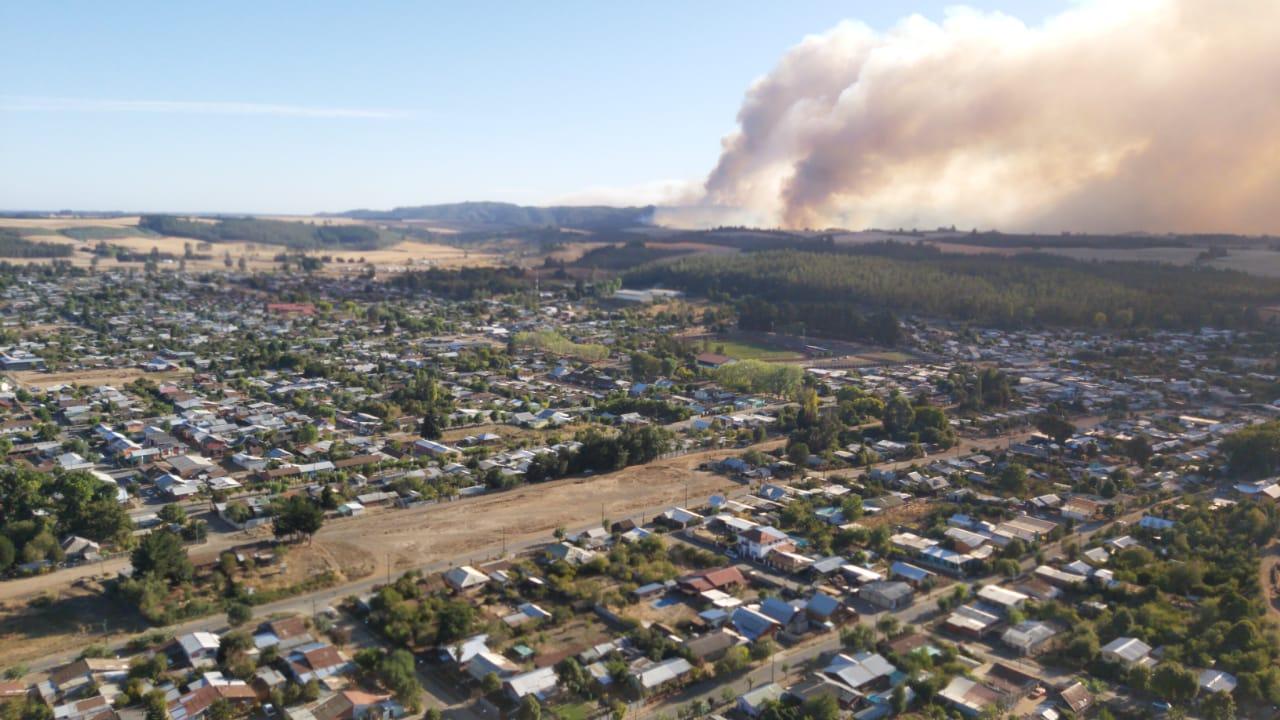 Declaran Alerta Roja Para Traiguén Por Incendio Forestal
