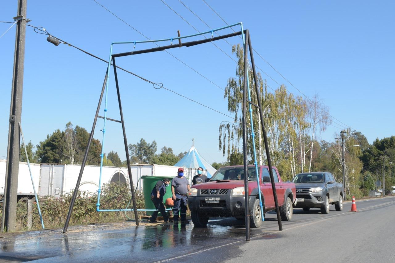 Municipio de Freire Instaló Primer Arco Sanitario Para Descontaminar Vehículos Por Covid-19